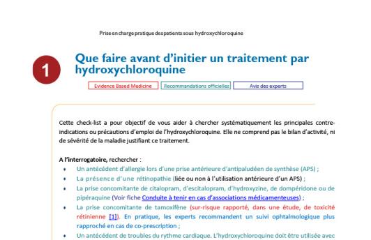 Fiche traitement hydroxychloroquine